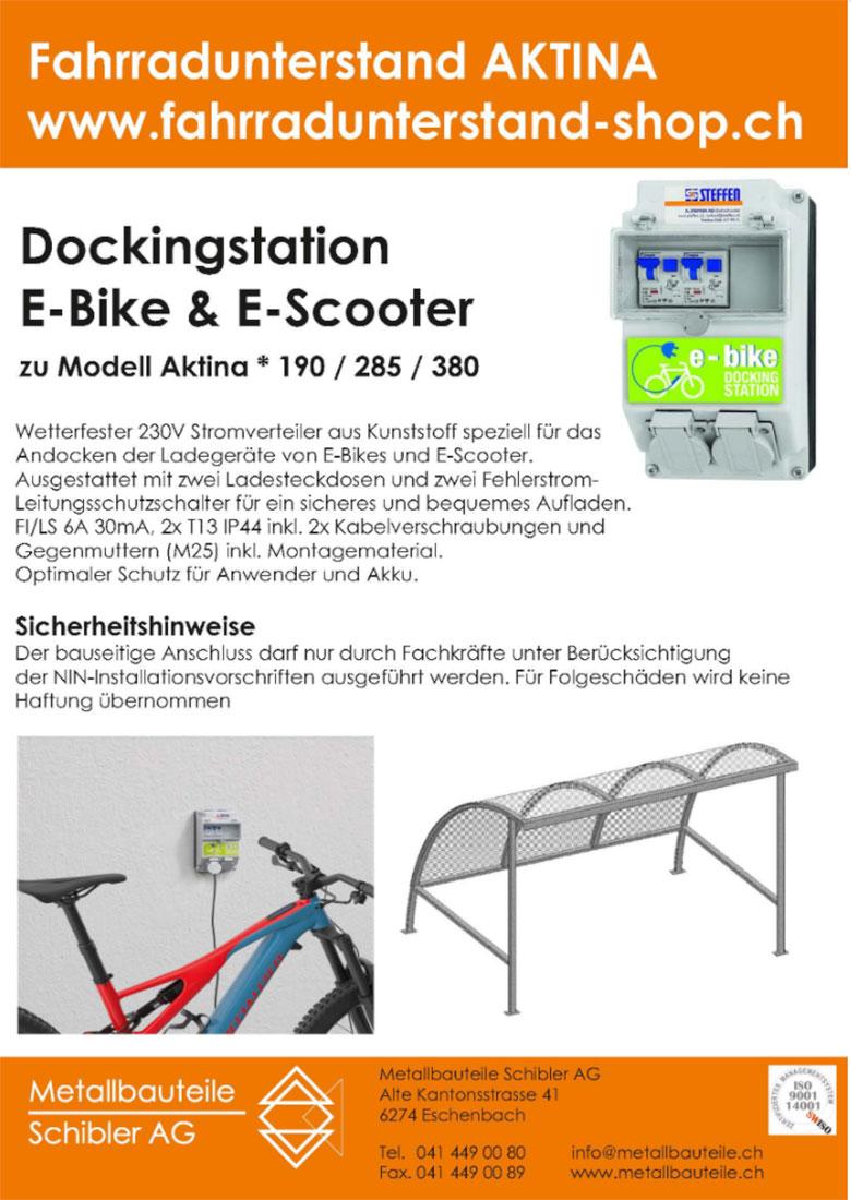 Dockingstation für E-Bikes und Scooter für Fahrradunterstand