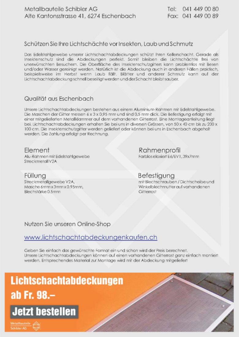 Lichtschachtabdeckung Datenblatt